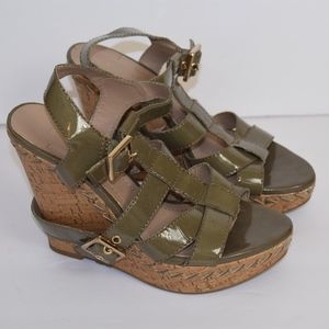 BCBG Olive Green Cork Wedge Patent Leather Shoes